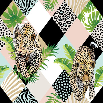 Tropical palm leaves and exotic leopard background. Seamless vector pattern with jungle leaves in trendy style.
