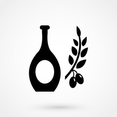 Vector illustration of a simple hand drawn bottle of olive oil with an olive branch. Rough sketch style logo icon