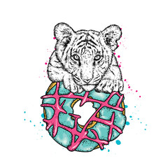 Cute tiger cub and a large multi-colored donut. Vector illustration.
