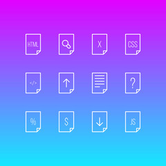 Vector Illustration Of 12 Document Icons. Editable Pack Of Remove, Percent, Style And Other Elements.