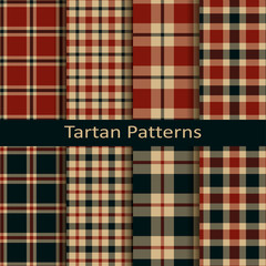set of ten vector trendy scottish square tartan patterns. design for wrapping, packaging, covers, cloths, christmas