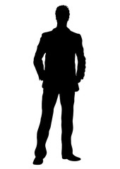 Business man vector silhouette, outline portrait male managing in costume standing front side full-length, human contour isolated on white background, monochrome illustration