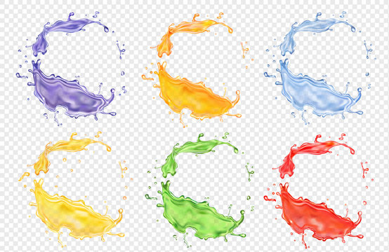 Fruit juice set, transparent realistic colored splashes vector icon