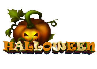 3d image. Text Halloween. Festive text from voluminous letters.