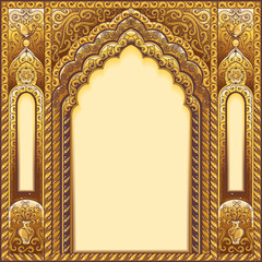 Golden Indian ornamented arch.