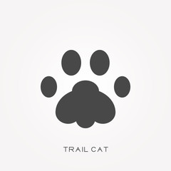 Silhouette icon trail cat