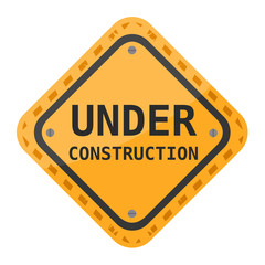 Under construction sign on white background, vector illustration.