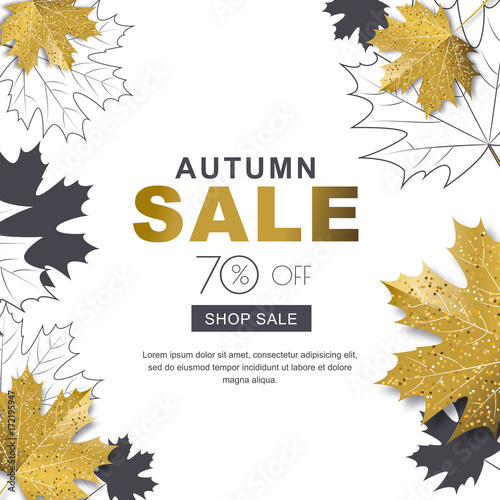 autumn sale banner with 3d style gold and outline maple autumn