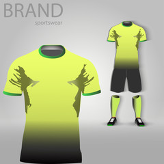 eps 10 vector football player uniform design. Men sportwear clothes. Team player clothing: T-shirt, shorts, boots and socks. Gradient dyed synthetic or cotton fabrics. 3d clothes isolated on gray