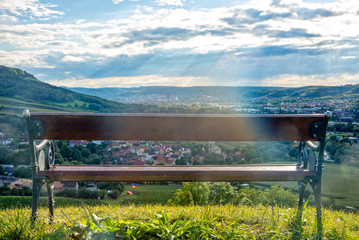 Park bench on a hill overlooking the city of Jena