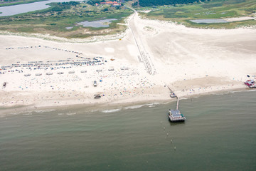 Panorama flight over the Elbe River and the west coast of Germany, with the Kiel-Canal and the Cities of Buesum and St. Peter-Ording