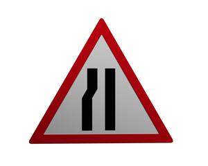 Verkehrszeichen: verengte Fahrbahn, links