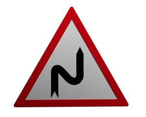 Verkehrszeichen: Doppelkurve rechts