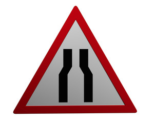 Verkehrszeichen: verengte Fahrbahn