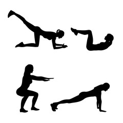 Abstract vector illustration of fitness exercises silhouettes