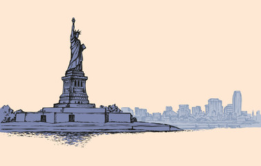 Statue of Liberty. Vector sketch