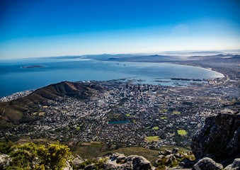 Landscape on top of the table mountain nature reserve in Cape Town at South Africa