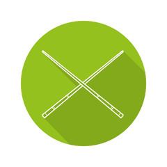 Crossed billiard cues flat linear long shadow icon