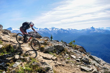 Mountain biking in Whistler, British Columbia Canada - Top of the world trail in the Whistler mountain bike park - September 2017 Wall mural