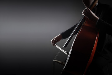 Double bass player. Hands playing contrabass