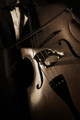 Double bass player Contrabass with bow