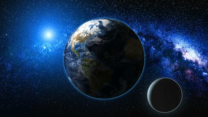 Wall Mural - Sunrise view from space on Planet Earth and Moon. Milky way with thousand stars in the background. High detailed 3D animation. Elements of this image furnished by NASA. Astronomy and science