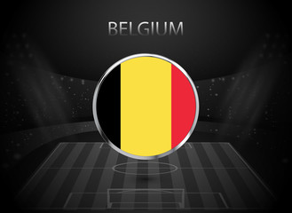 eps 10 vector Belgium flag button isolated on black and white stadium background. Belgian national symbol in silver chrome ring. State logo sign for web, print. Original colors graphic design concept