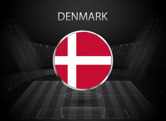 eps 10 vector Denmark flag button isolated on black and white stadium background. Danish national symbol in silver chrome ring. State logo sign for web, print. Original colors graphic design concept