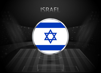 eps 10 vector Israel flag button isolated on black and white stadium background. Israeli national symbol in silver chrome ring. State logo sign for web, print. Original colors graphic design concept