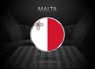 eps 10 vector Malta flag button isolated on black and white stadium background. Maltese national symbol in silver chrome ring. State logo sign for web, print. Original colors graphic design concept