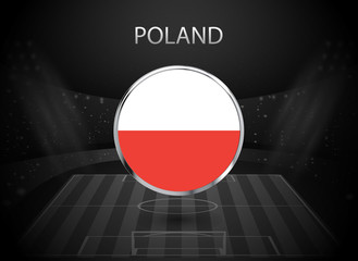 eps 10 vector Poland flag button isolated on black and white stadium background. Polish national symbol in silver chrome ring. State logo sign for web, print. Original colors graphic design concept