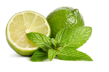 green mint and limes isolated on white background