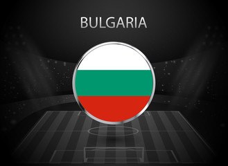 eps 10 vector Bulgaria flag button isolated on black and white stadium background. Bulgarian national symbol in silver chrome ring. State logo sign for web, print. Original colors graphic concept icon