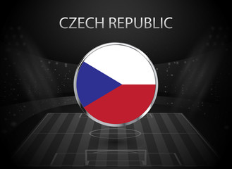 eps 10 vector Czech Republic flag button isolated on black and white stadium background. Czech national symbol in silver chrome ring. State logo sign for web, print. Original colors graphic design