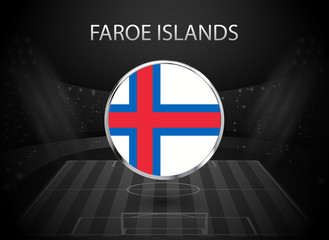 eps 10 vector Faroe islands flag button isolated on black and white stadium background. Faroese national symbol in silver chrome ring. State logo sign for web, print. Original colors graphic design