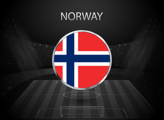eps 10 vector Norway flag button isolated on black and white stadium background. Norwegian national symbol in silver chrome ring. State logo sign for web, print. Original colors graphic concept icon