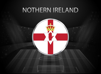 eps 10 vector Northern Ireland flag button isolated on black and white stadium background. Irish national symbol in silver chrome ring. State logo sign for web, print. Original colors graphic design