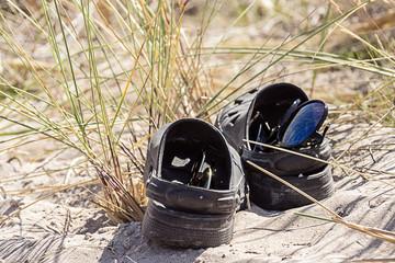 Sunglasses in a shoe