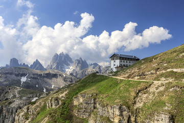 Panoramic view of Cadini di Misurina and Auronzo refuge. Veneto Sesto Dolomites Italy Europe