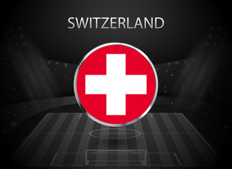 eps 10 vector Switzerland flag button isolated on black and white stadium background. Swiss national symbol in silver chrome ring. State logo sign for web, print. Original color graphic design concept