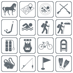Set of camping and sport equipment icons