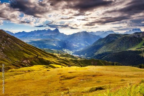 Wall mural National Park Dolomites (Dolomiti), Pordoi pass. Province Belluno, Veneto, Tyrol, Italy alps, Europe.