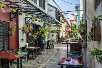 alley with tourist restaurants in siem reap old town cambodia