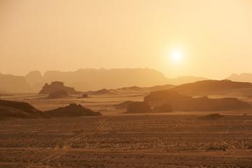 Mountains in the Sinai desert at sunset