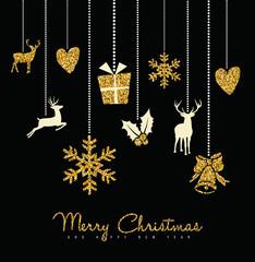 Holiday christmas ornament deer gold glitter card