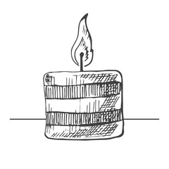 Hand drawn burning candle isolated on white background. Vector illustration of a sketch style.