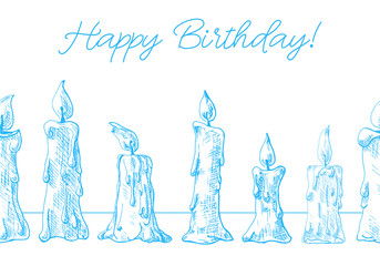 Hand drawn of burning candles. Seamless pattern with text Happy Birthday. Vector illustration of a sketch style.