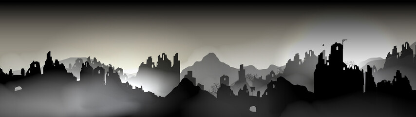 Destroyed city Panorama, Buildings in Ruin - Vector Illustration.