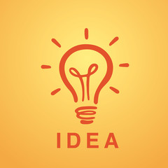 Vector light bulb icon with concept of idea