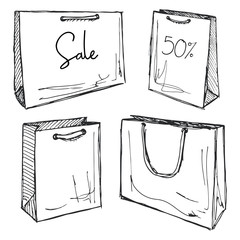 Set of shopping bags isolated on white background. Vector illustration of a sketch style. Inscription Sale.